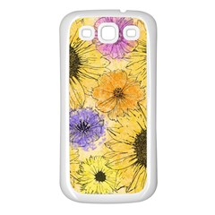 Multi Flower Line Drawing Samsung Galaxy S3 Back Case (white) by Simbadda