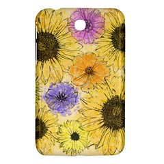 Multi Flower Line Drawing Samsung Galaxy Tab 3 (7 ) P3200 Hardshell Case  by Simbadda