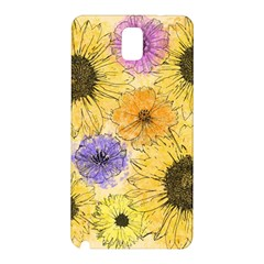 Multi Flower Line Drawing Samsung Galaxy Note 3 N9005 Hardshell Back Case by Simbadda