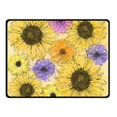 Multi Flower Line Drawing Double Sided Fleece Blanket (small)