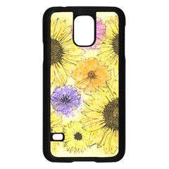 Multi Flower Line Drawing Samsung Galaxy S5 Case (black) by Simbadda