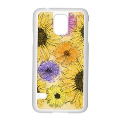 Multi Flower Line Drawing Samsung Galaxy S5 Case (white)