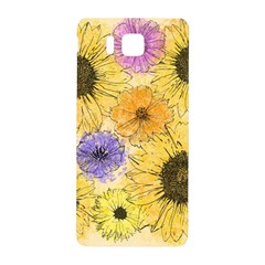 Multi Flower Line Drawing Samsung Galaxy Alpha Hardshell Back Case by Simbadda