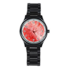 Pink Fur Background Stainless Steel Round Watch by Simbadda