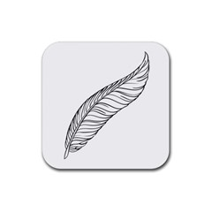 Feather Line Art Rubber Square Coaster (4 Pack)  by Simbadda