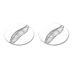 Feather Line Art Cufflinks (oval) by Simbadda