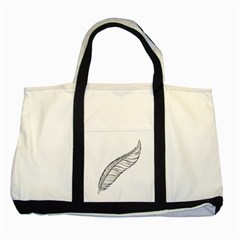 Feather Line Art Two Tone Tote Bag by Simbadda