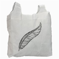 Feather Line Art Recycle Bag (one Side) by Simbadda