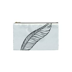 Feather Line Art Cosmetic Bag (small)  by Simbadda