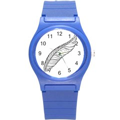 Feather Line Art Round Plastic Sport Watch (s) by Simbadda