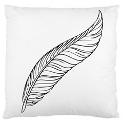 Feather Line Art Large Cushion Case (two Sides) by Simbadda