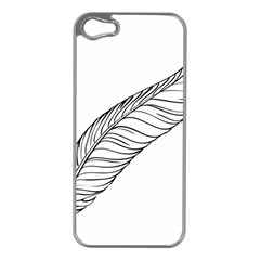 Feather Line Art Apple Iphone 5 Case (silver) by Simbadda
