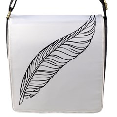 Feather Line Art Flap Messenger Bag (s) by Simbadda
