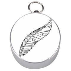 Feather Line Art Silver Compasses by Simbadda