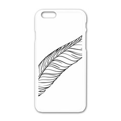 Feather Line Art Apple Iphone 6/6s White Enamel Case by Simbadda