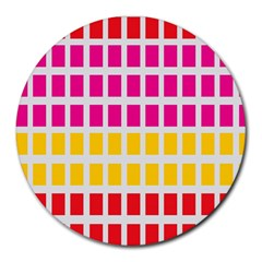 Squares Pattern Background Colorful Squares Wallpaper Round Mousepads by Simbadda