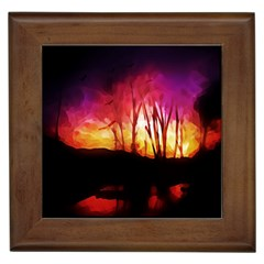 Fall Forest Background Framed Tiles by Simbadda