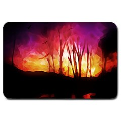 Fall Forest Background Large Doormat  by Simbadda