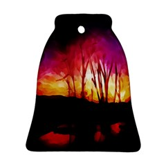 Fall Forest Background Bell Ornament (two Sides) by Simbadda