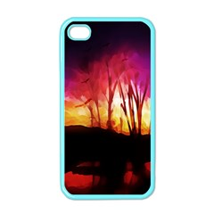 Fall Forest Background Apple Iphone 4 Case (color) by Simbadda