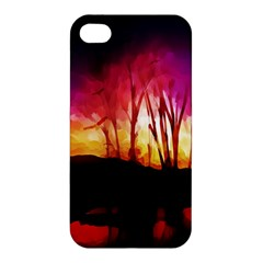 Fall Forest Background Apple Iphone 4/4s Premium Hardshell Case by Simbadda