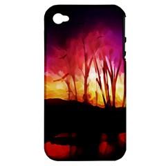 Fall Forest Background Apple Iphone 4/4s Hardshell Case (pc+silicone)