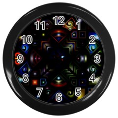 Geometric Line Art Background In Multi Colours Wall Clocks (black) by Simbadda