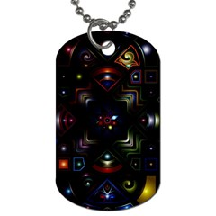 Geometric Line Art Background In Multi Colours Dog Tag (two Sides) by Simbadda
