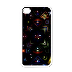 Geometric Line Art Background In Multi Colours Apple Iphone 4 Case (white) by Simbadda