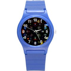 Geometric Line Art Background In Multi Colours Round Plastic Sport Watch (s) by Simbadda