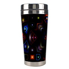 Geometric Line Art Background In Multi Colours Stainless Steel Travel Tumblers by Simbadda