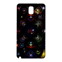 Geometric Line Art Background In Multi Colours Samsung Galaxy Note 3 N9005 Hardshell Back Case by Simbadda