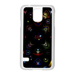 Geometric Line Art Background In Multi Colours Samsung Galaxy S5 Case (white) by Simbadda