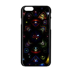 Geometric Line Art Background In Multi Colours Apple Iphone 6/6s Black Enamel Case by Simbadda