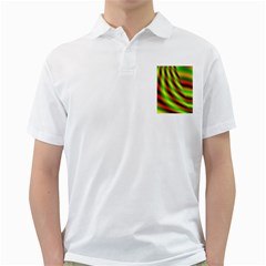 Neon Color Fractal Lines Golf Shirts