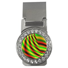 Neon Color Fractal Lines Money Clips (cz)  by Simbadda