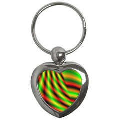 Neon Color Fractal Lines Key Chains (heart)  by Simbadda