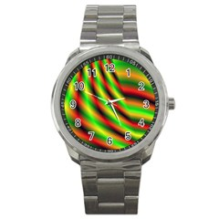 Neon Color Fractal Lines Sport Metal Watch by Simbadda