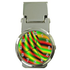 Neon Color Fractal Lines Money Clip Watches by Simbadda