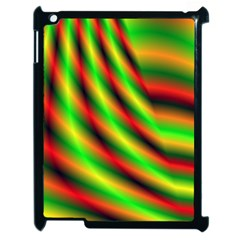 Neon Color Fractal Lines Apple Ipad 2 Case (black) by Simbadda