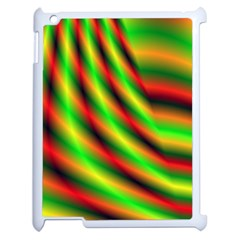Neon Color Fractal Lines Apple Ipad 2 Case (white) by Simbadda