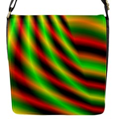 Neon Color Fractal Lines Flap Messenger Bag (s) by Simbadda