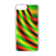 Neon Color Fractal Lines Apple Iphone 7 Plus White Seamless Case