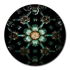 Kaleidoscope With Bits Of Colorful Translucent Glass In A Cylinder Filled With Mirrors Round Mousepads by Simbadda