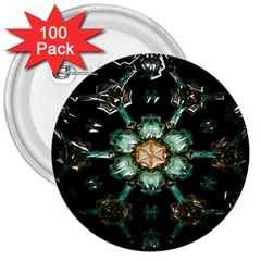 Kaleidoscope With Bits Of Colorful Translucent Glass In A Cylinder Filled With Mirrors 3  Buttons (100 Pack)  by Simbadda