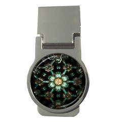 Kaleidoscope With Bits Of Colorful Translucent Glass In A Cylinder Filled With Mirrors Money Clips (round)  by Simbadda