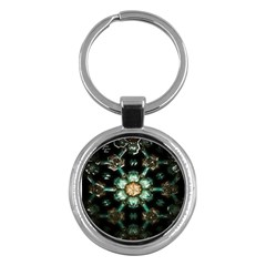 Kaleidoscope With Bits Of Colorful Translucent Glass In A Cylinder Filled With Mirrors Key Chains (round)  by Simbadda