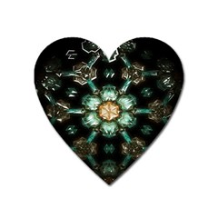 Kaleidoscope With Bits Of Colorful Translucent Glass In A Cylinder Filled With Mirrors Heart Magnet by Simbadda
