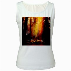 Artistic Effect Fractal Forest Background Women s White Tank Top by Simbadda