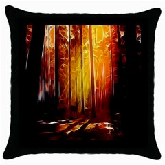 Artistic Effect Fractal Forest Background Throw Pillow Case (black) by Simbadda